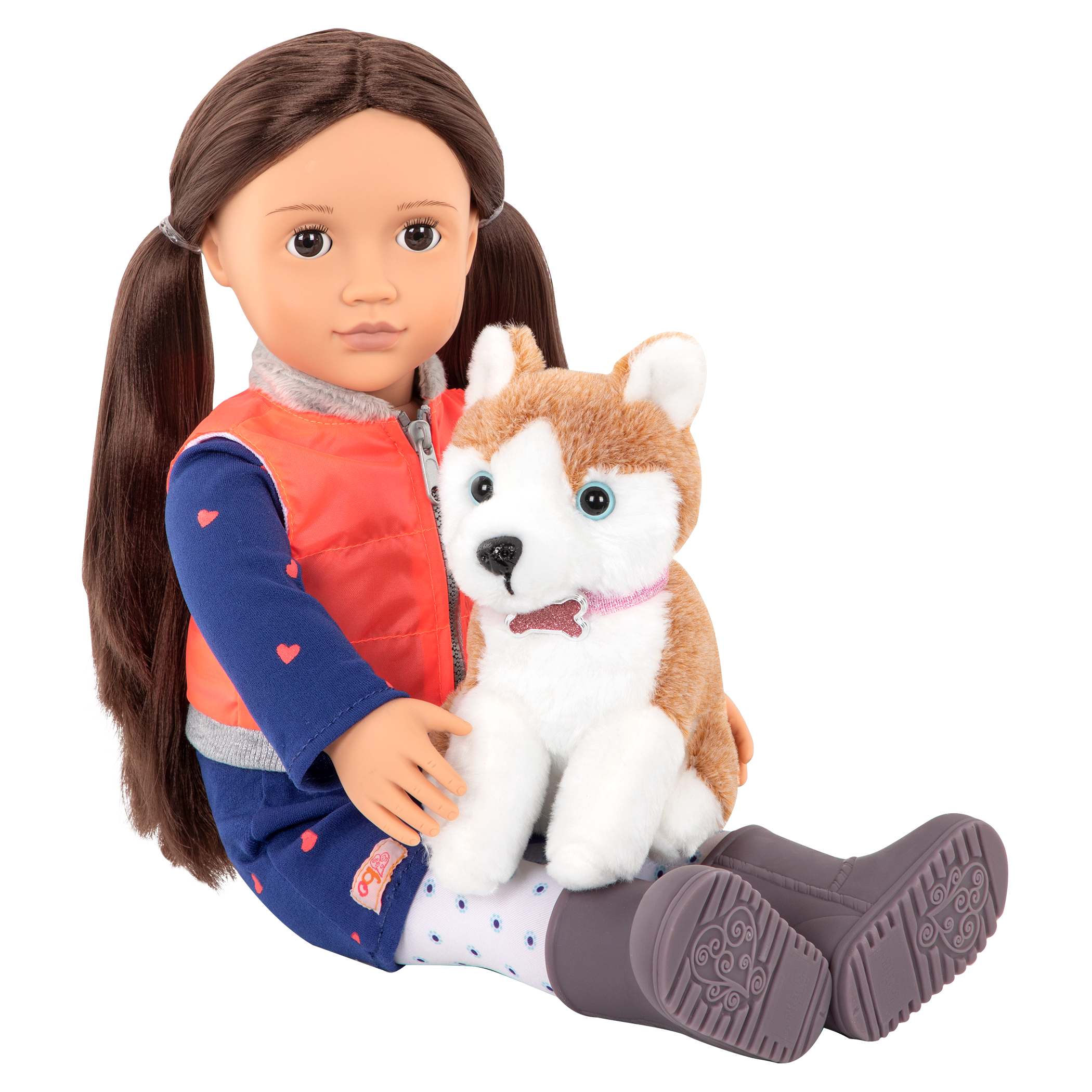Leslie sitting with Husky in her lap